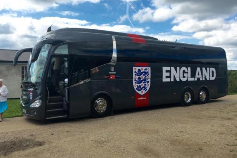 The Euro 2016 England coach makes a visit to Stow Maries WW1 Aerodrome in Essex