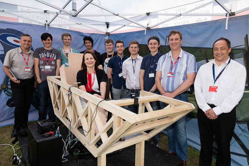 3.	Principal at Colchester Institute Alison Andreas with students and staff of  who were involved in the construction of the Rocking  Nacelle